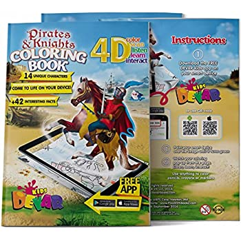 Devar 4D Augmented Reality Come To Life Coloring Books Pirates And Knights