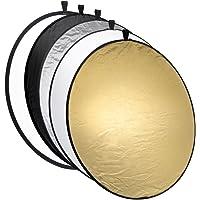 Mantona Riflettore pieghevole 5 in 1-110 cm colori: Oro, Argento, Nero, Bianco (Diffusore)