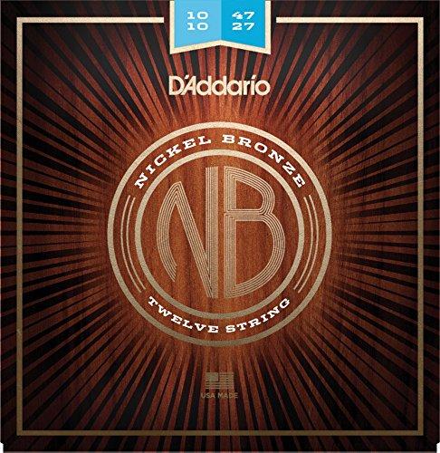 D'Addario Nickel Bronze Acoustic Guitar Strings, Light (12-String), - 47 Light String 12
