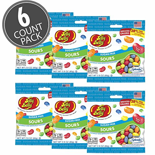 Box of Assorted Sour Sugar Free Splenda Jelly Belly Beans Sours 2.8 Ounce Bag Reduced by 28% Fewer Calories - Box of (Jelly Belly Sugar Free Jelly Beans)