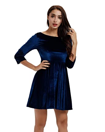 cf5dda68525 Moxeay Womens Backless Velvet Pleated A-line Skater Mini Dress (3090 Blue(3