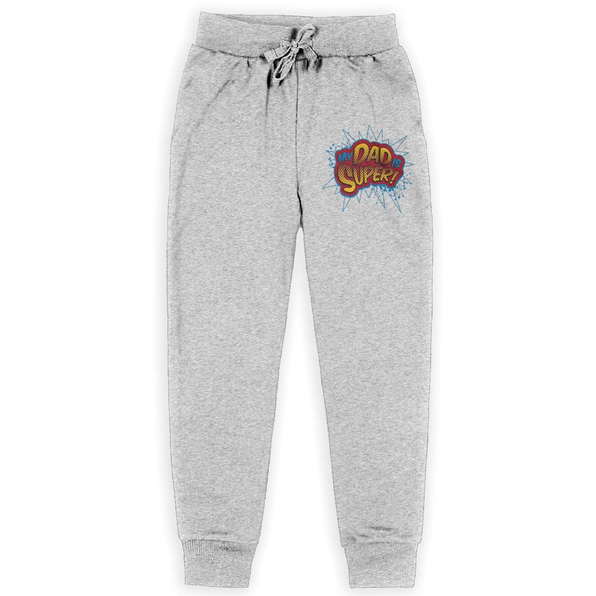 Xinding Boys Fashion Training Sweatpants Super Dad Adjustable Waist Trousers with Pocket