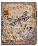 Simply Home French Inspired Vintage Style Dragonfly Woven Tapestry Throw Blanket 50'' x 60''