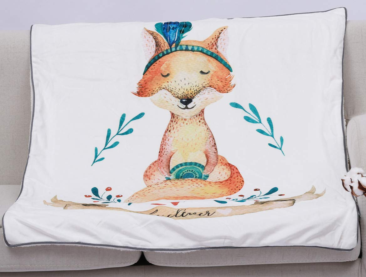 "Baby""Fox"" Print Soft Sherpa Blanket, 40"" x 30"" Plush Flannel Throw for Girls &Boys, Extra Soft &Warm &Cozy, Double Layer Fleece Baby Blanket(Fox, 40""x30"")"