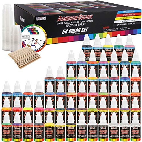 (U.S. Art Supply 54 Color Ultimate Acrylic Airbrush, Leather & Shoe Paint Set with Cleaner, Thinner, 50-Plastic Mixing Cups, 50-Wooden Mix Sticks and a Color Mixing Wheel)