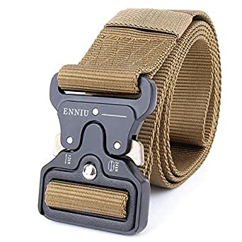 "Tactical Belt 1.75"" Tactical Heavy Duty Waist Belt Quick-Release Military Style Shooters Nylon Belts with Metal Buckle (Brown)"