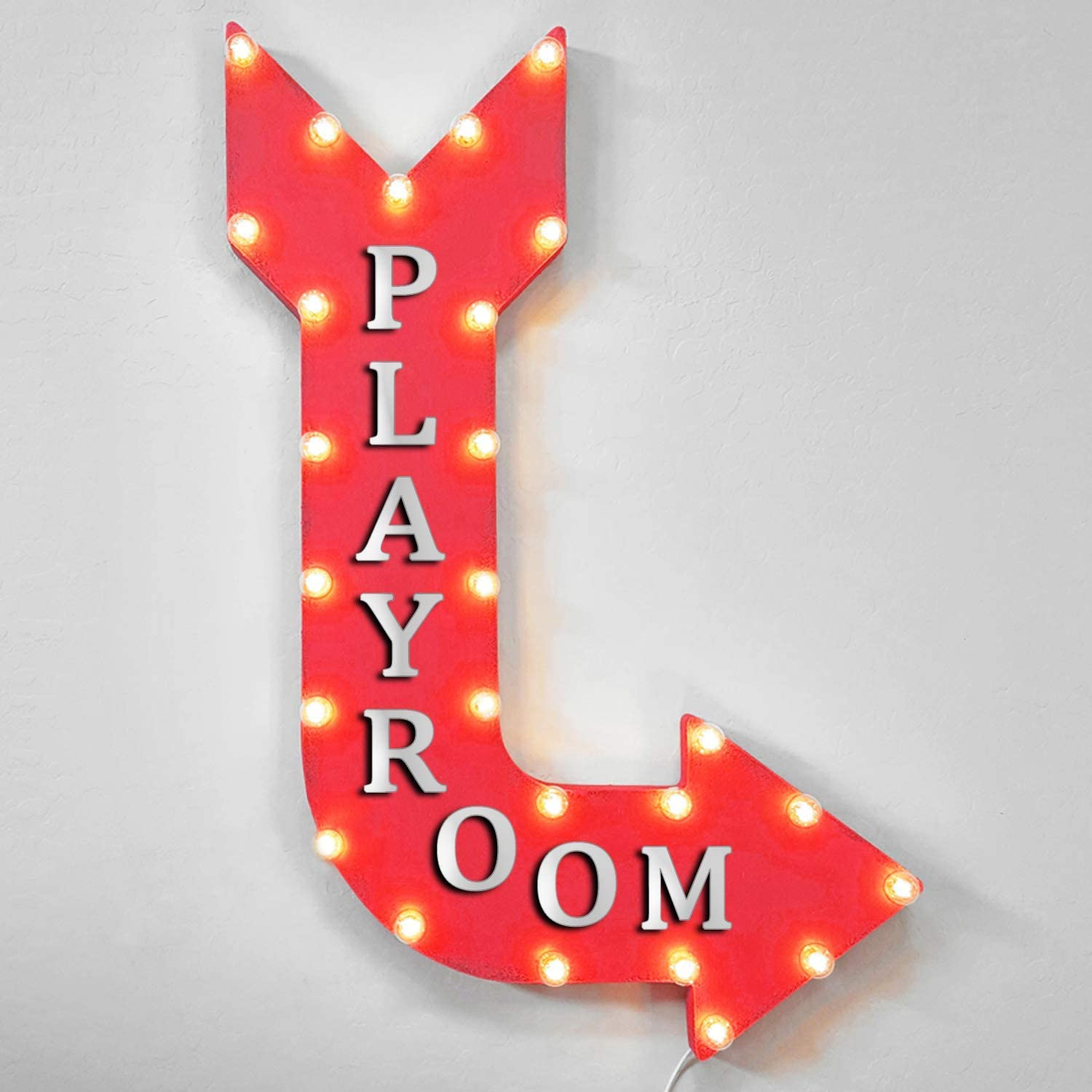Playroom Rustic Metal Marquee Light Up Arrow Sign Gray Battery Operated Home Kitchen Amazon Com