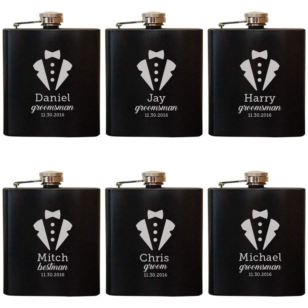 Personalized Engraved Flask, Custom Engraved Flask, Engraved Wedding Flask, Engraved Hip Flask, Groomsmen Flasks by Froolu