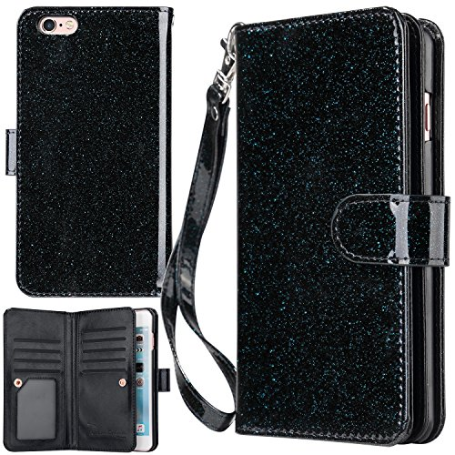 iPhone 6 Plus Case, iPhone 6S Plus Wallet Case, UrbanDrama Glitter Shiny Faux Leather Magnetic Closure Credit Card Slot Cash Holder Protective Case for iPhone 6 Plus/iPhone 6S Plus 5.5, Blue Black