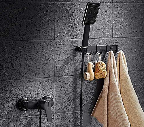 FYLD Black Shower kit,with Hook Multifunctional Handheld Shower Set - High Pressure, Removable Hand Held Showerhead, Adjustable Rainfall Spray - Matte Black,B