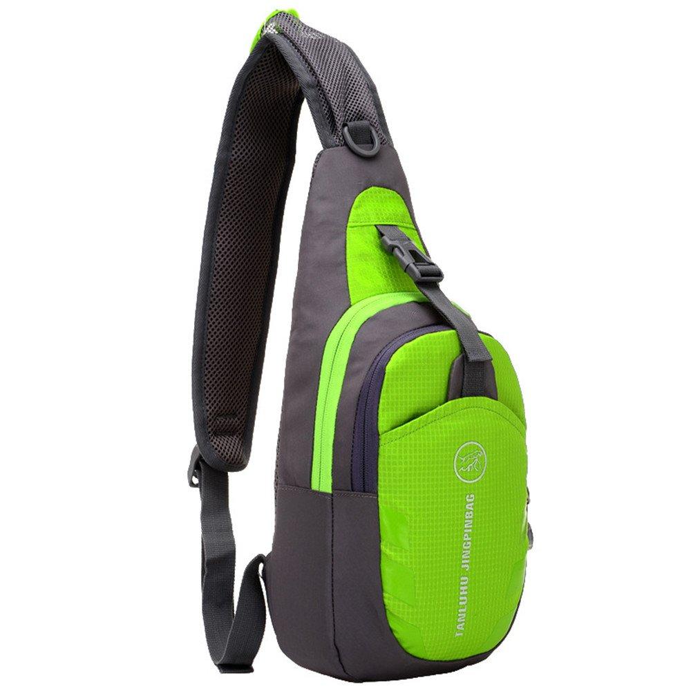 Roll Overイメージにズームinショルダーバックパックカジュアルクロスボディバッグアウトドアスリングバッグ胸パックwith Adjustable Shoulderストラップforサイクリングハイキングキャンプ旅行、メンズレディース  グリーン B01G6PRPN2