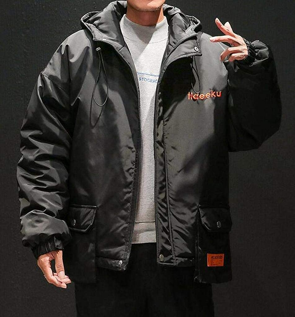XiaoTianXinMen XTX Mens Zip Front Winter Loose Fit Thickened Warm Hoodie Down Coat Jacket Overcoat