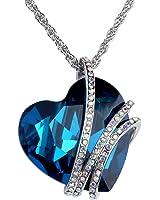 JOVIVI Fashion Jewelry Love Blue Heart Crystal Pendant Necklace, Womens heart Jewelry