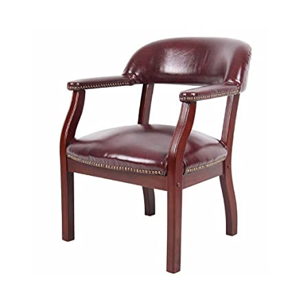 Minimalist Accent Chair, Red Color, Easy Transportation, Wood/Vinyl Material,  Stylish
