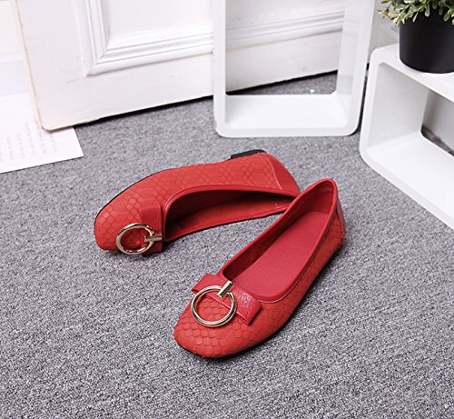 Flats Shoes Red Casual Spring Miyoopark Leisure Leather Knot Summer 0n Walking Slip qOpwzvxRa