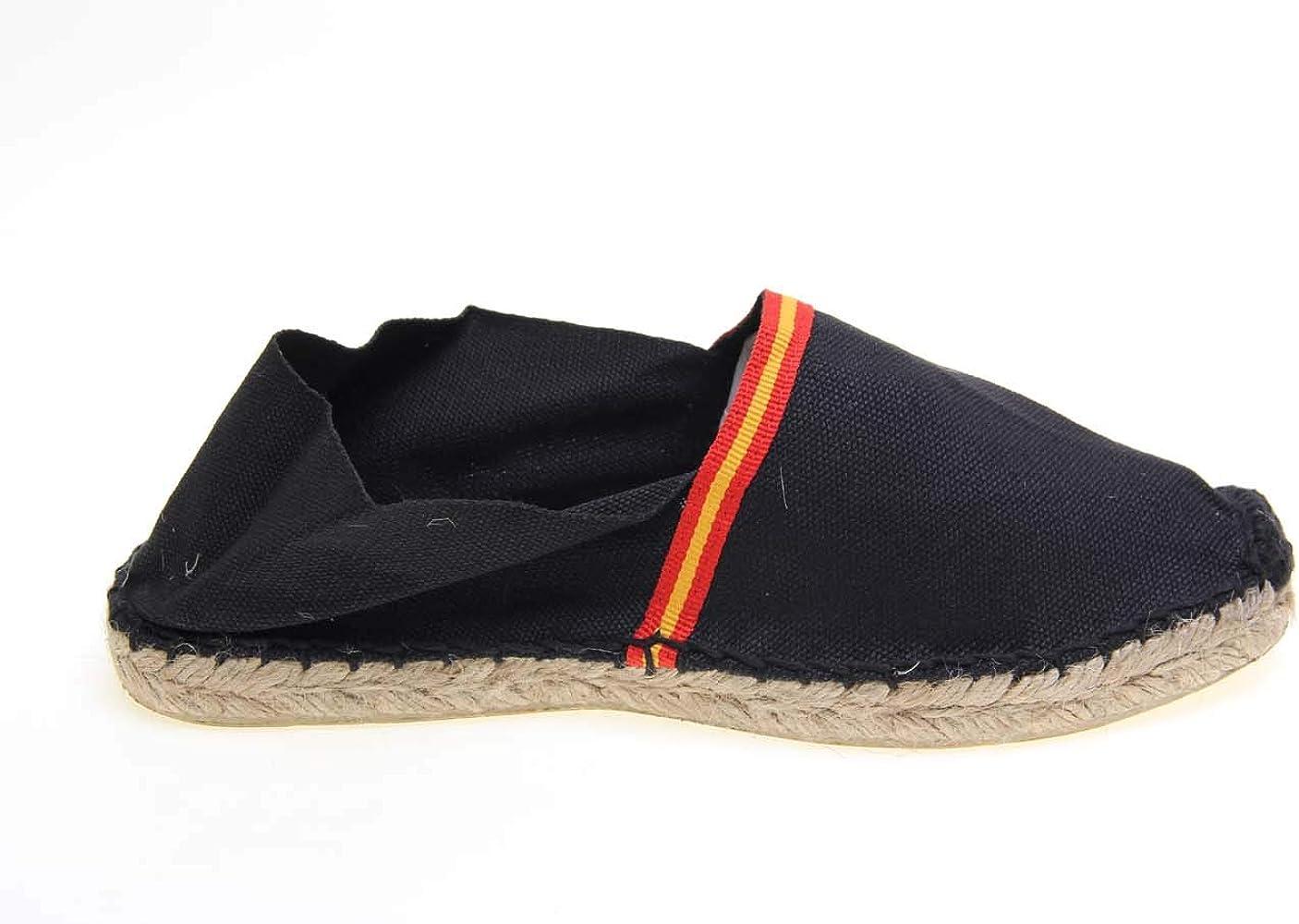 Alpargata Piso Yute y Tejido Lona Bandera ESPAÑA Made IN Spain Cosido A Mano (Negro, Numeric_36): Amazon.es: Zapatos y complementos