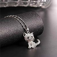 U7 Cat Jewelry Women Girls Link Fashion Platinum/18K Gold Plated Rhinestone Crystal Kitty Cat Pendant Necklace