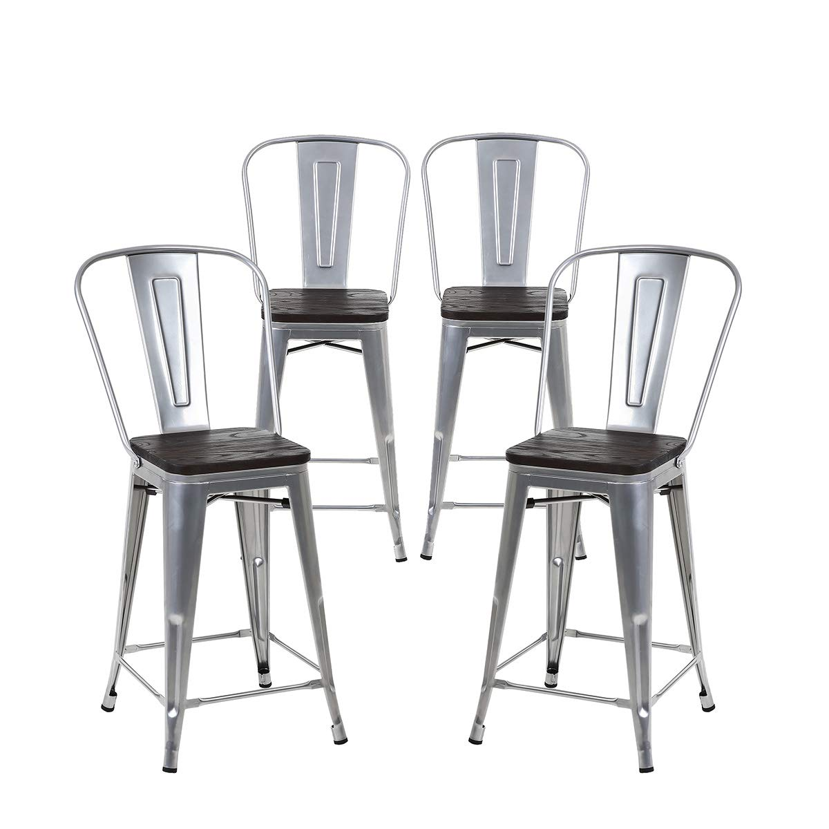 Buschman Set of 4 Grey Wooden Seat 24 Inch Counter Height Metal Bar Stools with High Back, Indoor/Outdoor by Buschman Store