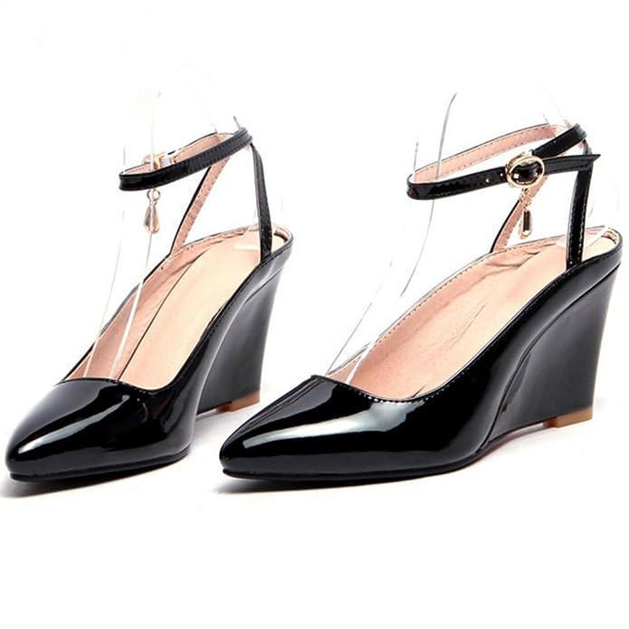 Amazon.com | RAZAMAZA Women Elegant Closed Toe Ankle Strap Wedge Sandals Shoes | Heeled Sandals