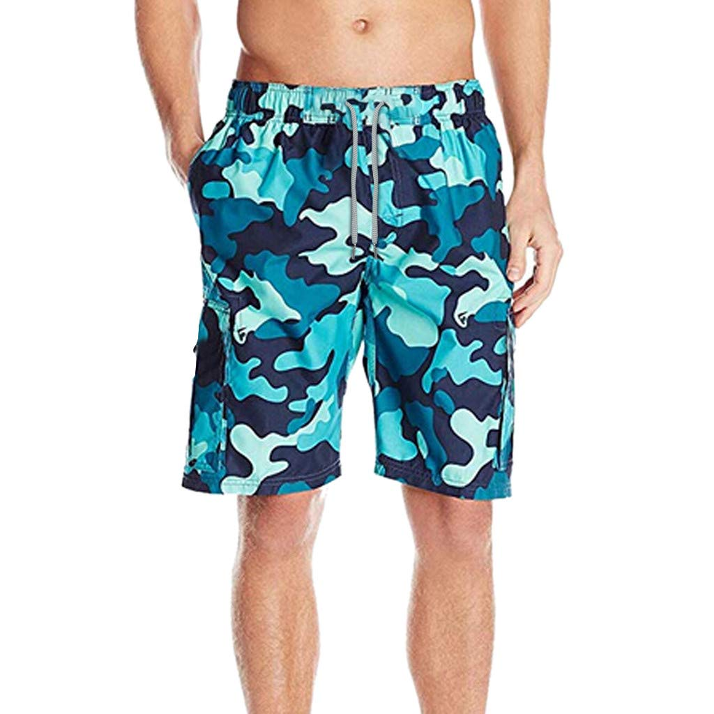 Mens Short Swim Trunks Boys Quick Dry Swim Shorts Bathing Suits Printed Casual Holiday Beach Shorts with Pockets Blue Camo