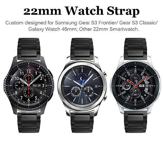 Miimall - Correa de Reloj para Samsung Gear S3 Frontier/Classic Smartwatch (Acero Inoxidable)