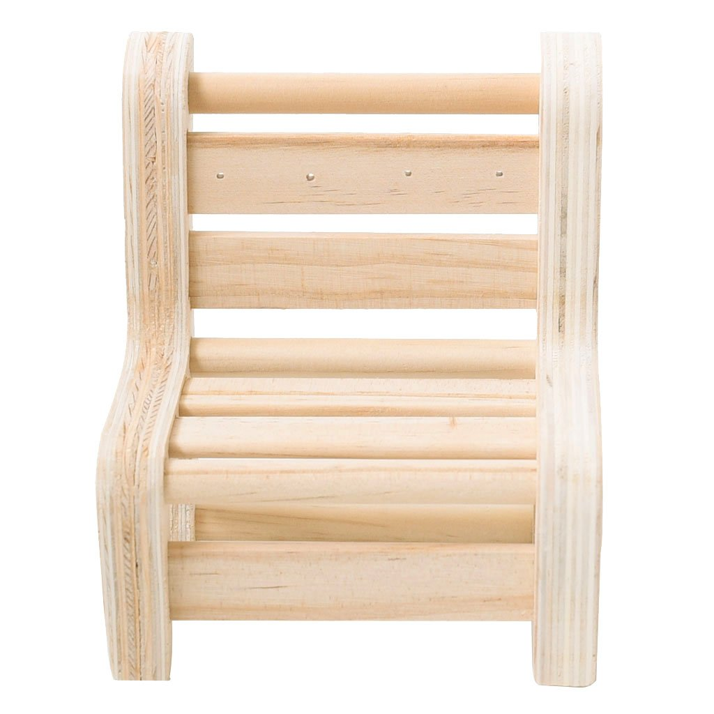 Fenteer Natural Unpainted Wooden Ring Jewelry Display Rack Stand Holder Showcase - Short Bench