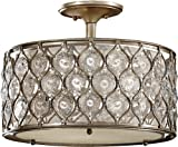 Murray Feiss SF289BUS Lucia 3 Light Indoor Semi-Flush Mount, Burnished Silver