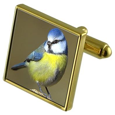 Pájaro Azul Teta Oro-Tono Gemelos Crystal Gift Set Clip de Corbata ...