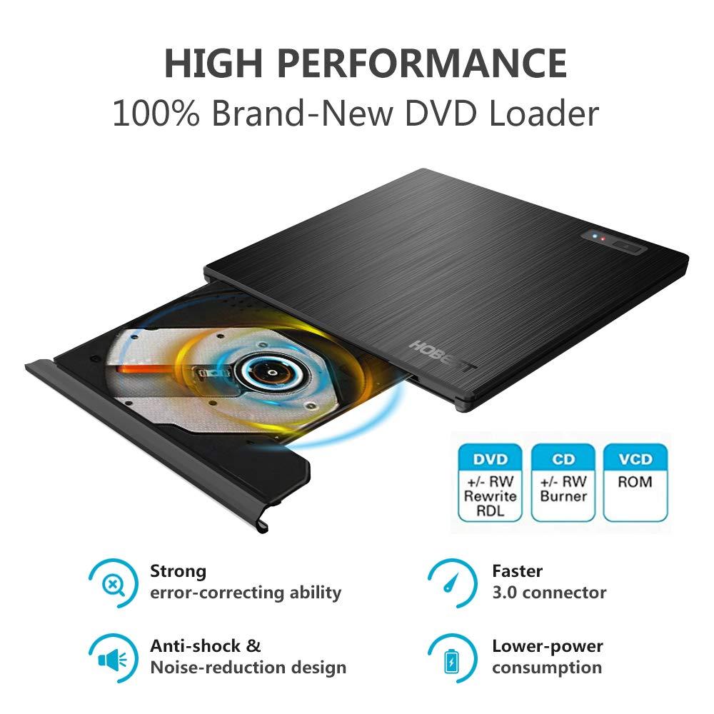 Amazon.com: External CD DVD Drive, Hobest Portable USB-C ...