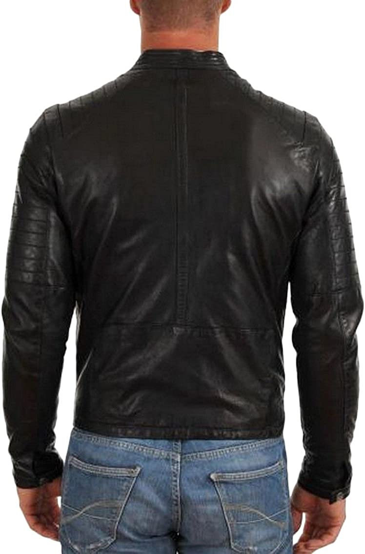 New Genuine Lambskin Leather Designer Jacket Motorcycle Biker Mens S M L XL T937