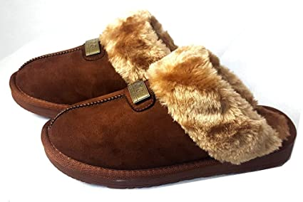 1425d49f6cb3 GCG Geniune Ladies Faux Sheepskin Slippers Mules Non Slip Hard Sole Womens  BROWN 4