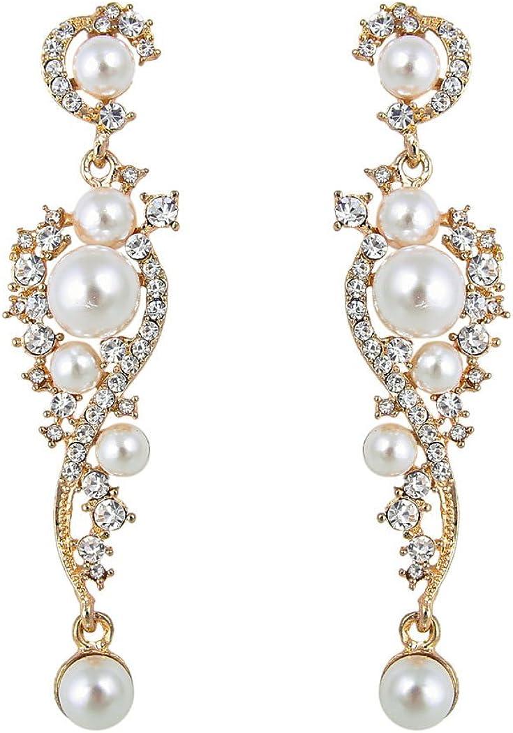 tenye cristal austriaco color marfil perla simulada pendientes de novia claro tono dorado