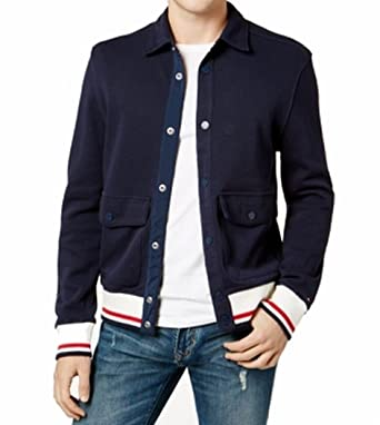 672397b9 Tommy Hilfiger Mens Bomber Cardigan Sweatshirt Navy XL at Amazon Men's  Clothing store: