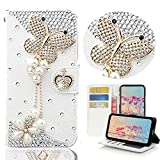 STENES Galaxy S9 Case - Stylish - 3D Handmade Butterfly Pearl Pendant Wallet Card Slots Fold Leather Cover Case Butterfly Dust Plug,Screen Protector for Samsung Galaxy S9 - White