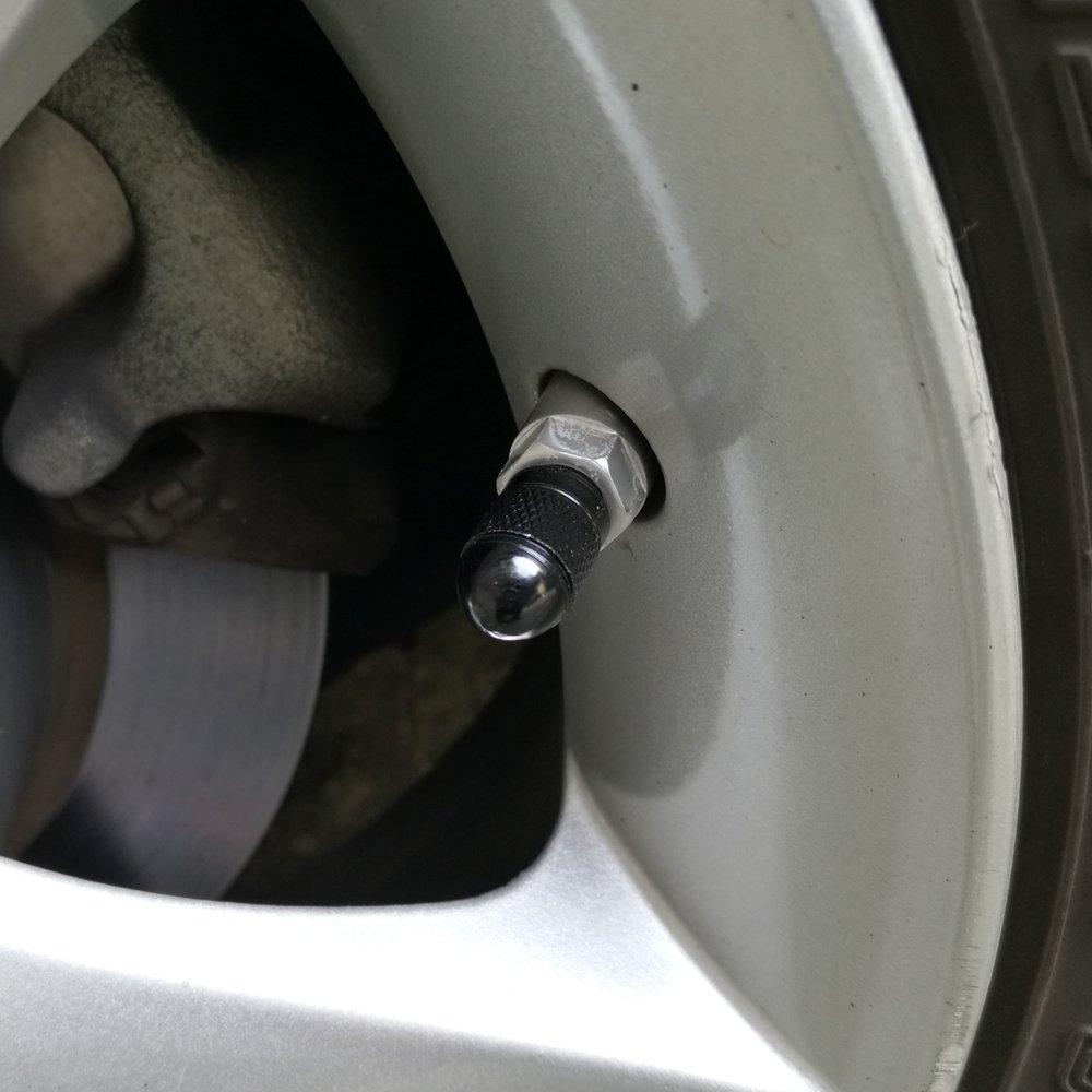SENZEAL 5x Kugel-stil Reifen Ventilkappen Aluminium Legierung Staubkappen Rot
