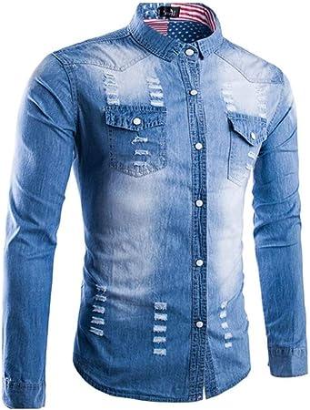 Weentop Camisas para Hombres Regular Fit Camisa de Manga Larga de Mezclilla con Estampado étnico para Hombres Camisa de Mezclilla Trend Ropa para Hombres (tamaño : L): Amazon.es: Hogar