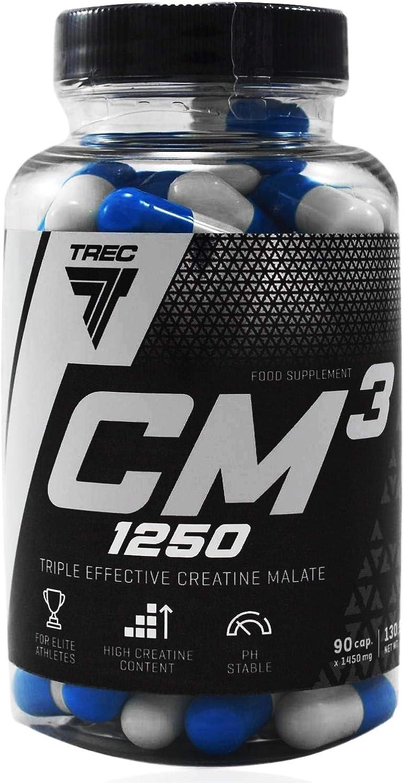 Tri Creatina Malato - CM3 - Adecuado para Vegeterian/Increíble Poder - Muscle Energizer y Constructor Fuerza - TREC Nutrition (90caps / 180caps / ...