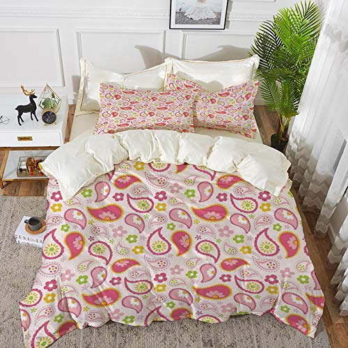- Yaoni Bedding - Duvet Cover Set,Girls,Paisley Leaf and Daisy Flowers Pattern Floral Spring Theme Girls Kids Nursery,Pin,Hypoallergenic Microfibre Duvet Cover Set 68