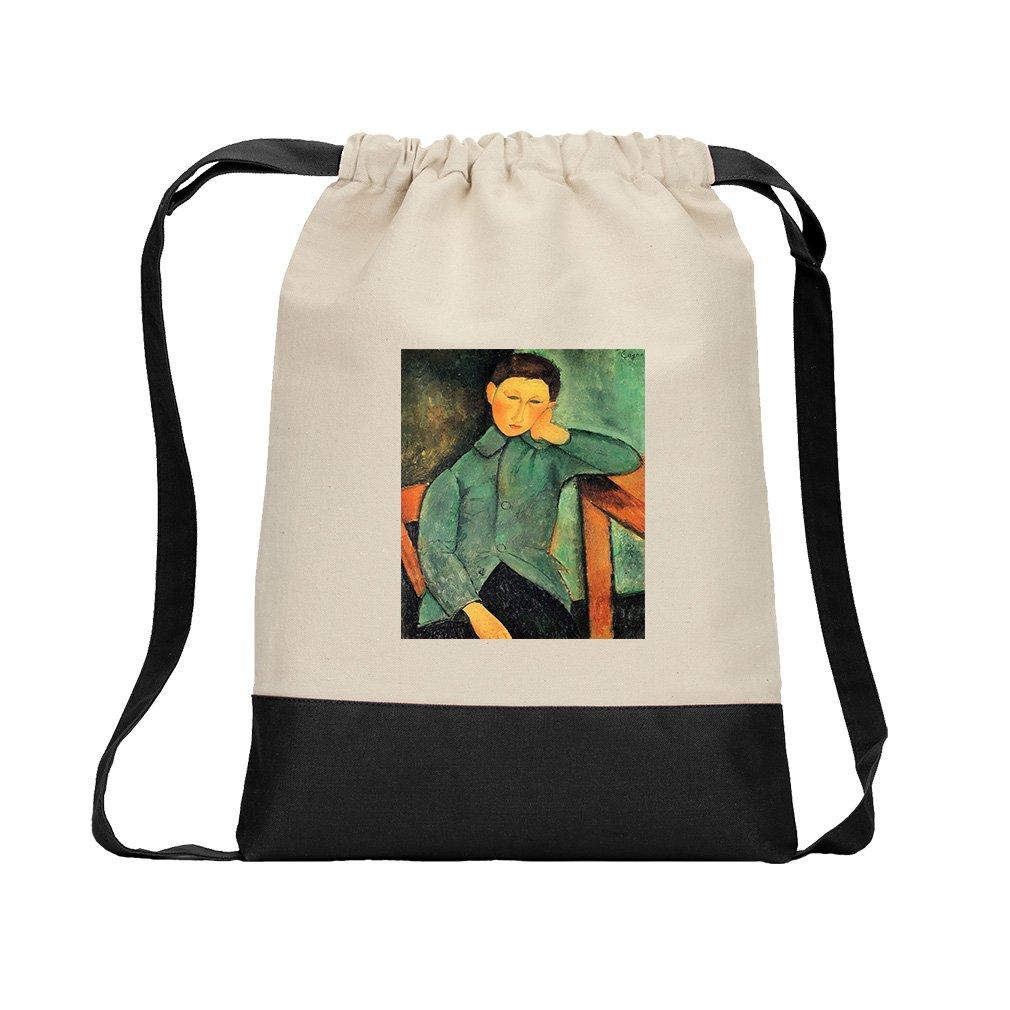 Boy In A Blue Jacket (Modigliani) Canvas Backpack Color Drawstring - Black