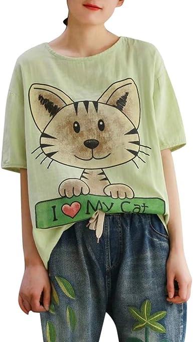 Hokoaidel Blusas y Camisas para Mujer Verano Moda Camisetas Impresión Camisa Mujer Moda de Verano para Mujer Camiseta con Estampado de Gato Casual Blusas: Amazon.es: Ropa y accesorios