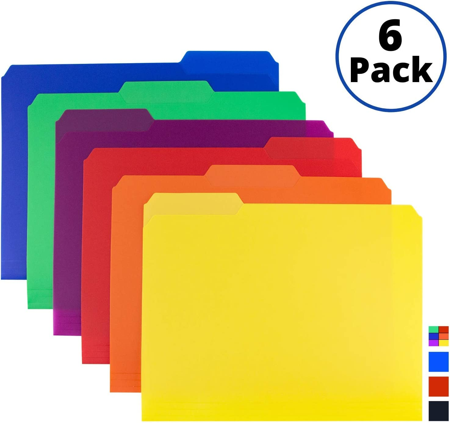 Colored Plastic 3-TAB File Folders (6 Pack, Assorted Colors) Letter Size, 1/3-Cut Tabs, Labels Included, Writable Erasable Top Tabs, Durable, Tear-Resistant, Acid-Free for Document Filing Storage