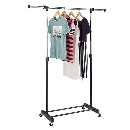 richstar sola barra perchero ajustable ropa rack-with ruedas ...