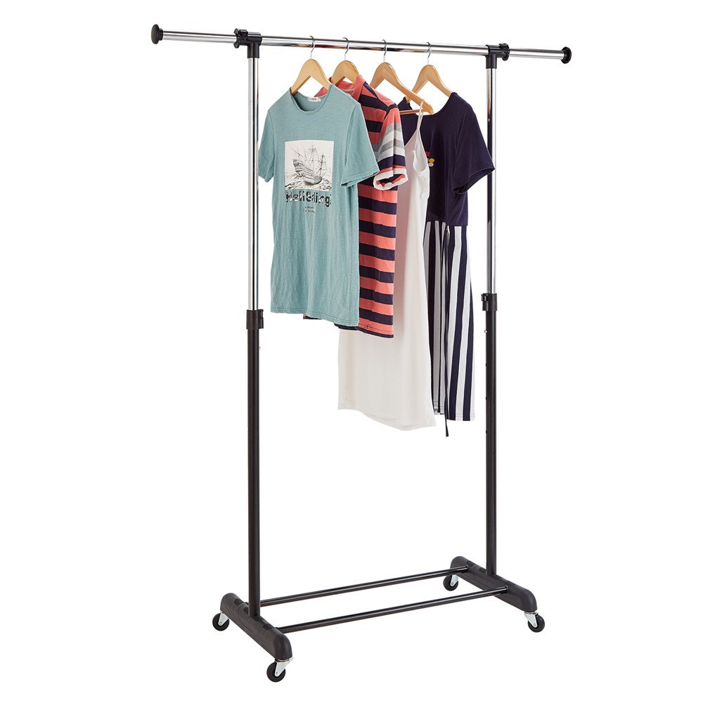 RichStar Single Rod Adjustable Garment Rack- Rolling Clothes Rack with Commercial Wheels,Black