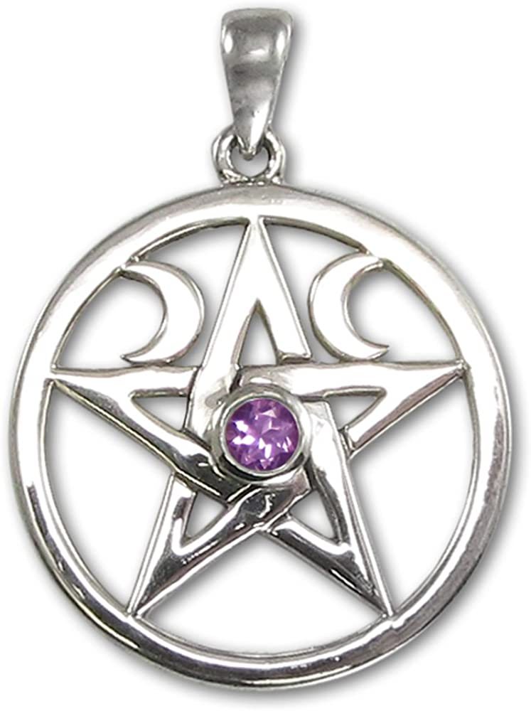 Sterling Silver Wiccan Pendant Wiccan Jewelry Silver Pentagram Wiccan Pentagram Amulet Pentagram with Raven Pendant Pentagram Necklace