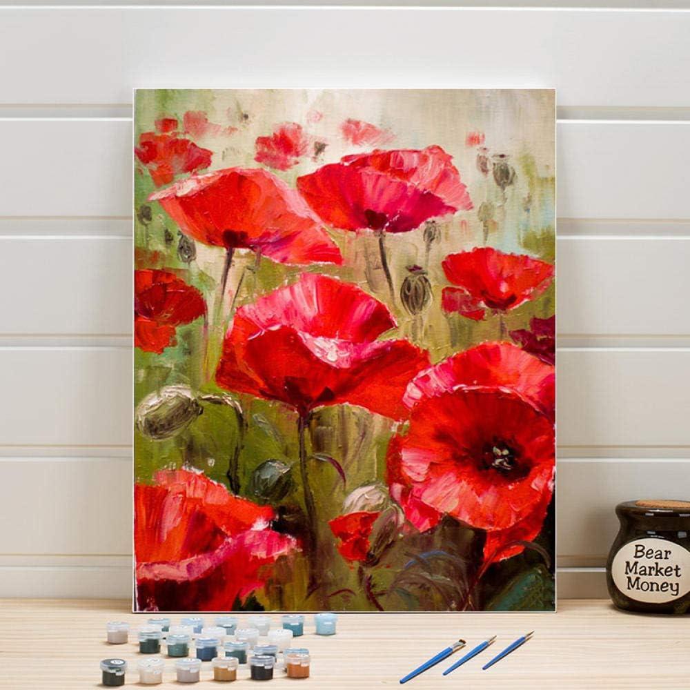 ONEZERT Dibujo Imagen por número Flores Planta DIY Pintura Acrílicos Lienzo Kits de Pintura al óleo Arte de Pared Pintado a Mano para Sala de Estar Adultos 40x50cmx1 sin Marco