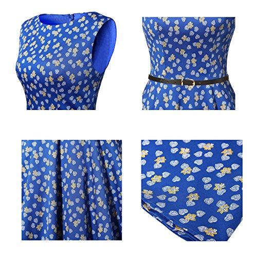 Cocktail Bbonlinedress Retro Dress Rockabilly Swing Party Women's Leaves Royalblue 1950s Vintage ZZ0OrRAq