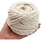 Natural Cotton Macrame Wall Hanging Plant Hanger Hammock Swing Chair Craft Making Knitting Cord Rope Natural Color 5mm 50 Meters (5mm)