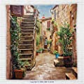 59 x 59 Inches Tuscan Decor Fleece Throw Blanket View of an Old Mediterranean Street with Stone Rock Houses in Italian City Rural Culture Print Blanket