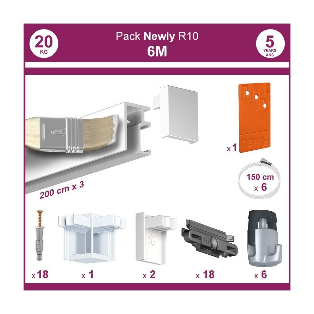 NEWLY 6 m/ètres : Pack Complet cimaise R10 Peut /être Peint Blanc Mat - 11,7 mm