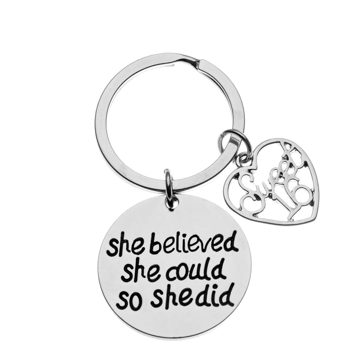 Sweet 16 Inspirational She Believed She Could So She Did Charm Keychain Sweet Sixteen Jewelry Birthday Gift Girls